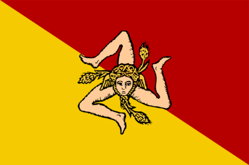 Sicilian Flag with the distinctive triskelion