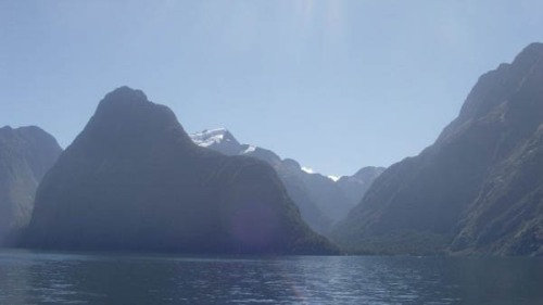 Out in Milford Sound on a remarkably clear day