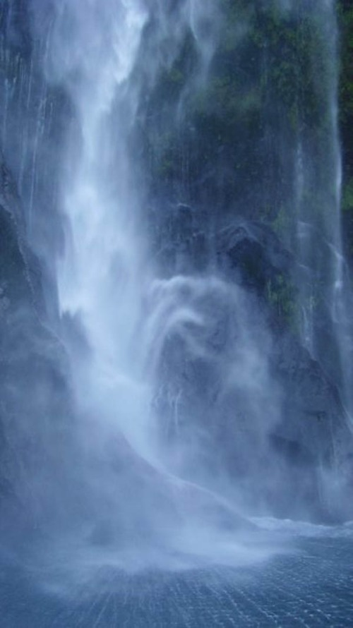 Water falls from the heavens in Milford Sound